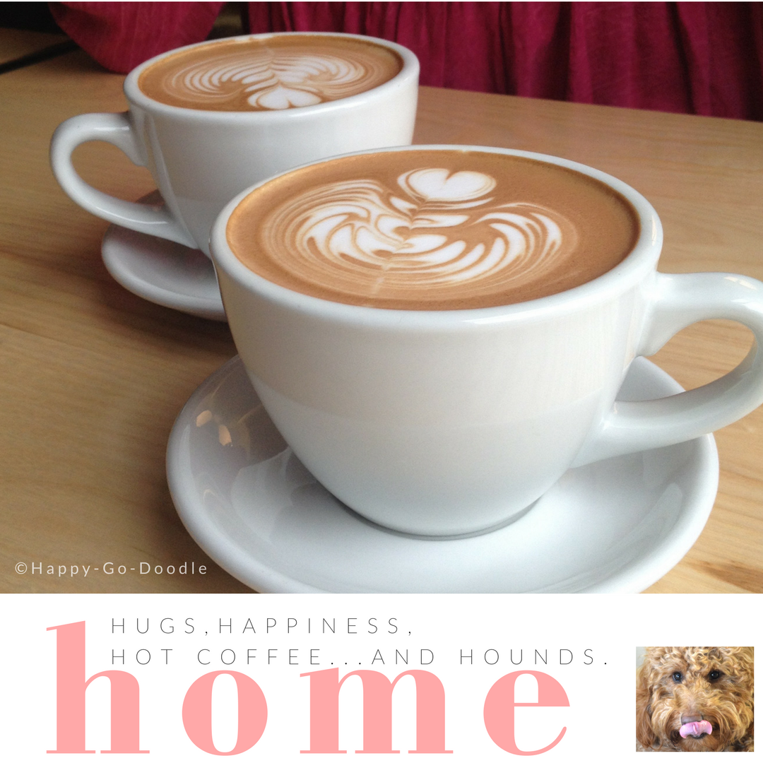 goldendoodle dog next to two lattes and quote about dog love