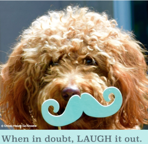 Red goldendoodle dog with photo prop mustache and quote by Happy-Go-Doodle