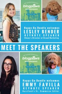 Photos of the BlogPaws Conference Keynote speakers Lesley Bender and Emmy Favilla