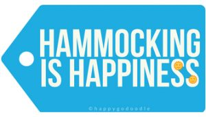 gift tag for the dog mom or outdoorsy girl reads hammocking is happiness with a yellow smiley face sun on blue