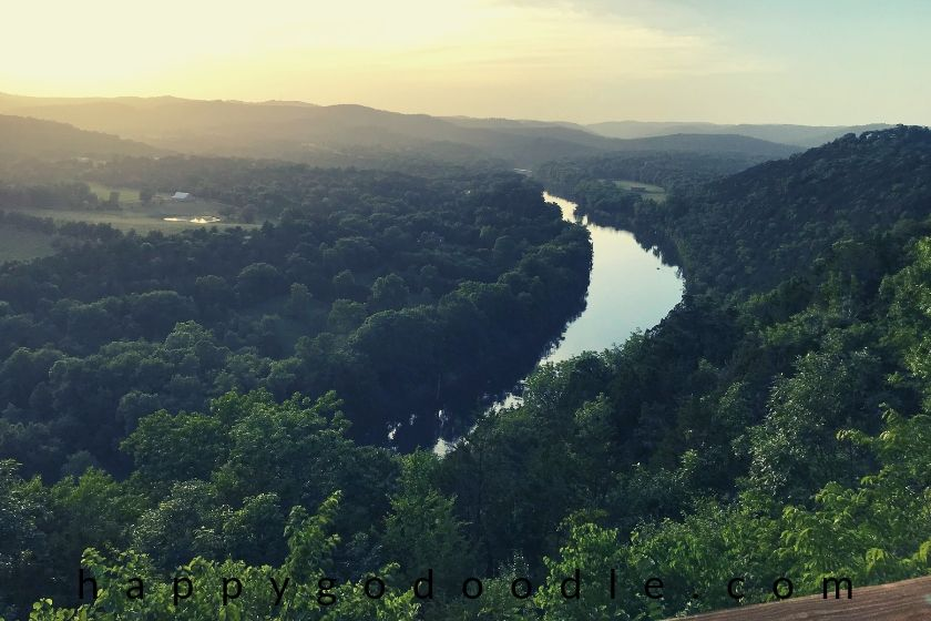 photo view of the white river from a dog-friendly cabin in eureka springs