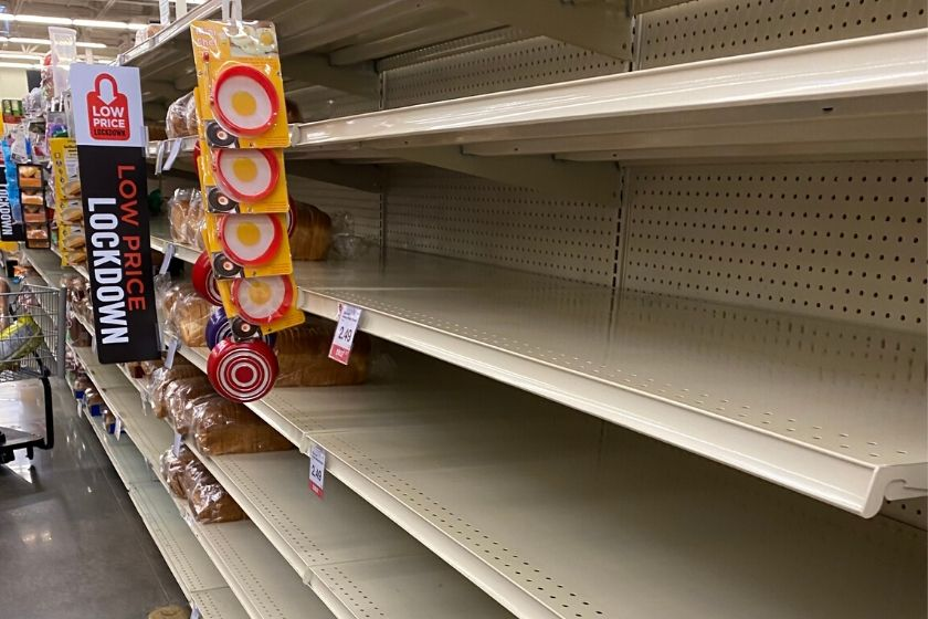 daily life example - empty shelves at a grocery store during the coronavirus pandemic. photo.