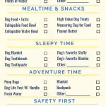 Checklist of items to bring on a dog road trip, infographic